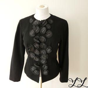 Coldwater Creek Classic Blazer Jacket Black Wool
